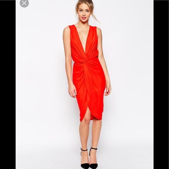 cf1c85f0 ASOS Dresses & Skirts - Asos red dress twist plunge drape zara hm lulus